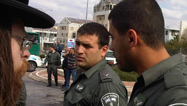 מפגין ושוטרים בבית-שמש  (צילום: חדשות 24)