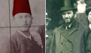 """הגרמ""""מ אפשטיין, מימין - במסע הרבנים לארה""""ב, משמאל - עם התרבוש האדום"""