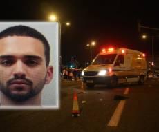 החשוד נתנאל סנדרוסי על רקע זירת התאונה
