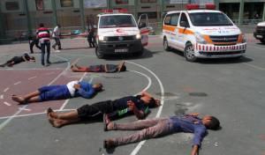 תיעוד מעזה: כוחות ההצלה בתרגיל חירום