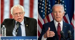 המועמדים הדמוקרטים: ביידן מימין, סנדרס משמאל