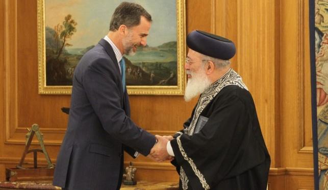 """הגר""""ש עמאר ומלך ספרד, לפני ארבעה חודשים"""