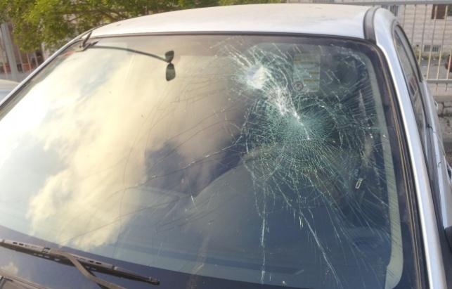 הרכב שהותקף באבנים, אתמול