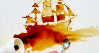אניה בלב ים של קפה חם. איור של ג'וליה ברנרדלי - האמנית שעושה קריירה מקפה שנשפך