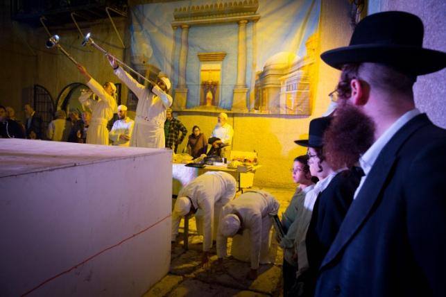 תצוגה של עבודת בית המקדש בירושלים. אילוסטרציה