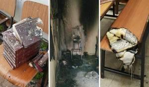 """נזקי השריפה - פתח תקווה: אש בבית מדרשו של האדמו""""ר"""