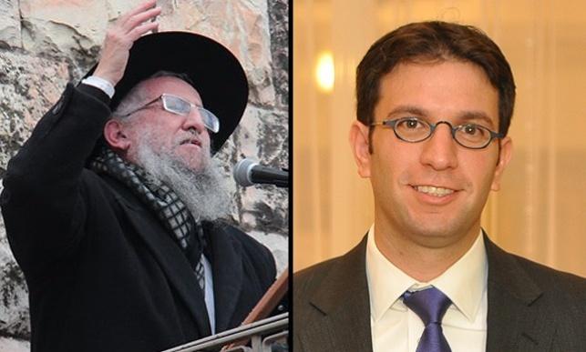 """מימין - עו""""ד חיים זיכרמן; משמאל - האב הרב דוד זיכרמן"""