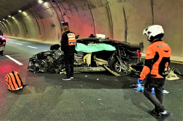 רכב הסקודה בזירת התאונה