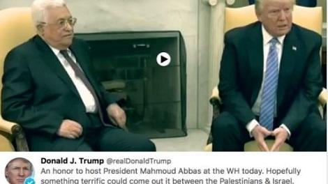 הציוץ שנמחק - טראמפ צייץ שכבוד לארח את עבאס - ומחק