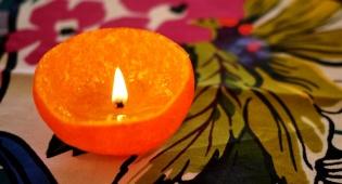 נרות ביתיים בקליפת תפוז