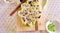 סושי צמחוני עם סלק ונבטים בציפוי קריספי