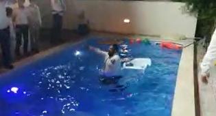 באמצע החתונה: אחד החוגגים קפץ לבריכה