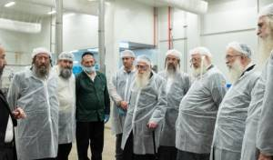 הרבנים והנהלת מערכת הכשרות יצאו לסיור בין מתקני המפעל ונכחו לראות מקרוב את ההידורים הרבים