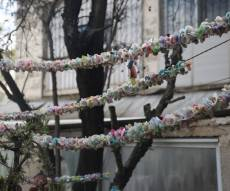 אלפי המוצצים תלוים בחצר הבית בירושלים