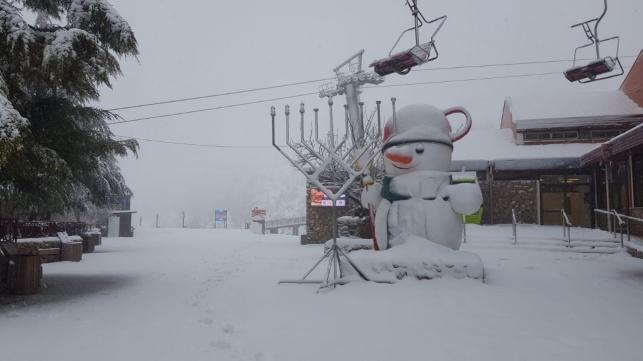 """צפו: 40 ס""""מ שלג בחרמון; זרימות במפלים"""