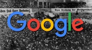 לוגו גוגל. ברקע: עצרת אנטישמית בברלין באוגוסט 1935 - גוגל הסירה תשובה אנטישמית ממנוע החיפוש