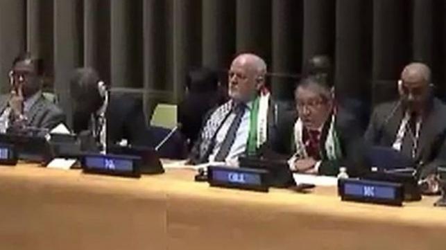 """נשיא עצרת האו""""ם התעטף בדגל פלסטין"""