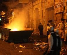 ההפגנה הסוערת, במוצאי שבת. צילום: פלאש 90