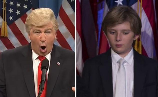 """עד הילד. משמאל: חיקוי של טראמפ בתכנית """"סאטרדיי נייט לייב"""""""