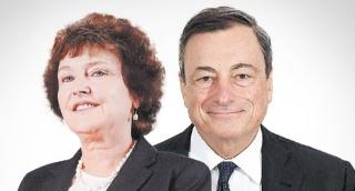 מימין נשיא הבנק המרכזי האירופי מריו דראגי ו נגידת בנק ישראל קרנית פלוג - קרב המטבעות שלח את בנק ישראל למגננה