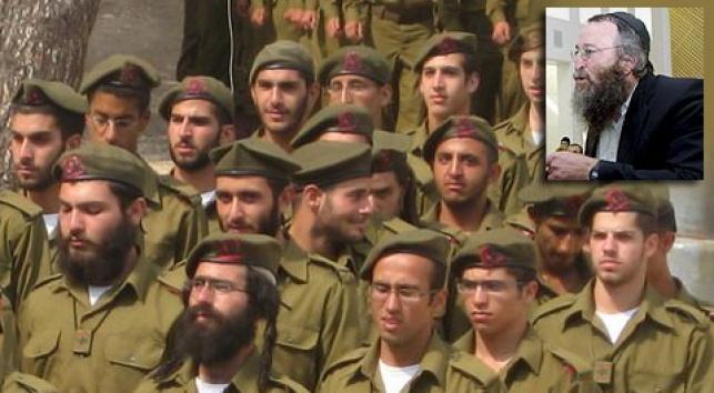 הרב שופל על רקע חיילים חרדים (צילום: כיכר השבת)