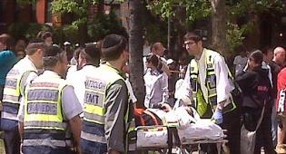 זירת האירוע. צילום: כיכר השבת - גדר בית-הספר קרסה, 17 תלמידים נפצעו