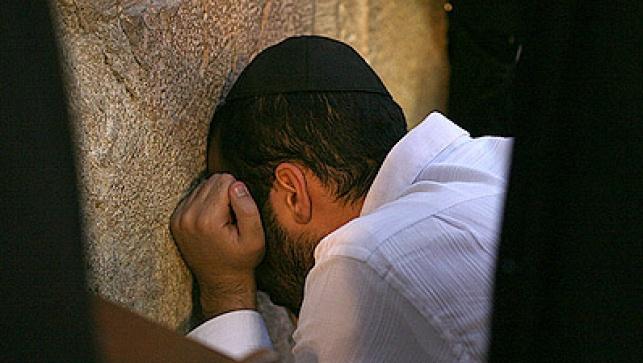 יהודי מתפלל אתמול בכותל. צילום: מאיר אלפסי